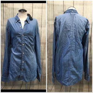 Joe's Collection Shirt S blue denim long sleeve